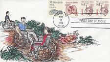 ALAN TOSSMAN HAND-PAINTED FDC FIRST DAY COVER-1988 WHEEL CHAIR 1920's ISSUE