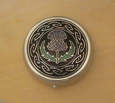 Enameled Scottish Thistle & Celtic Knot Pill Box LRG 3 compartments
