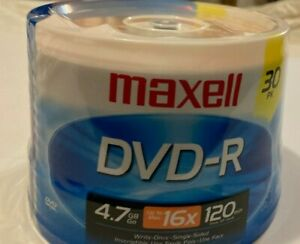 Maxell DVD R 30 Pack 4.7 GB up to 120 Minutes Sealed 16x High Quality Mode