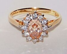 IMPERIAL TOPAZ DIAMONIQUE CZ 14CT GOLD RING SIZE O 7.25 JEWELLERS OLD STOCK NEW