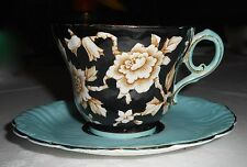 VINTAGE PARAGON CHINA ART DECO BLACK/TURQUOISE WILD ROSES TEA CUP & SAUCER