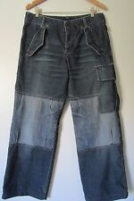 MOSCHINO Blue Corduroy/Denim Snap Button Fly Relaxed Pants EUC SZ: 32x30