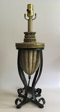 Table Lamp Base Greco Roman Urn Style Gold Accent Black Wrought Iron Base