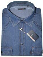 CAMICIA UOMO Jeans manica lunga taschini M L XL XXL XXXL 100% COTONE denim blu