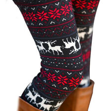 Fashion Vogue Women Warm Winter Knit Snowflake Leggings Xmas Stretch
