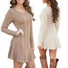 Women Sexy Autumn Winter Long Sleeve Knit Bodycon Slim Party Sweater Mini Dress