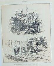 VECCHIO antico stampa Italia FIRENZE Pompei panettieri, negozio Frantumatore c1890's