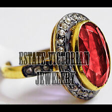 Gorgeous Vintage Antique 1.07Cts Pave Rose Cut Diamond Ruby Silver Ring Jewelry
