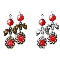 Earrings, Red Rose bow crystal vintage style bronze, choose clip on, pierced