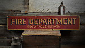Fire Department City State, Custom Fire -Rustic Distressed Wood Sign