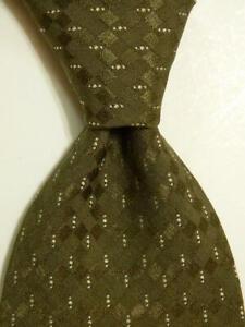 GIORGIO ARMANI Men's Silk/Polyester Necktie ITALY Designer Geometric Green EUC