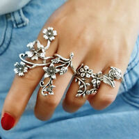 4pcs/set Vintage Bohemian Crystal Flower Retro Silver Boho Finger Midi Ring Set