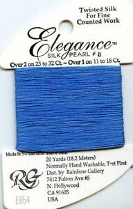 Rainbow Gallery Elegance #E854 Blue #8 Perle Silk Pearl Thread 100% Silk 20yds