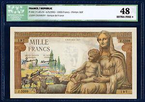 FRANCE 1000 FRANCS PICK 102 1943 ICG 48 XF+