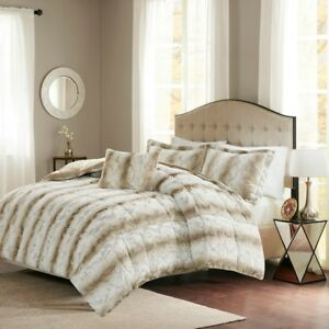Deluxe Silky Soft Sand Chinchilla Faux Fur Comforter King Queen 4 pcs Set