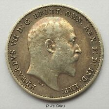 More details for 1904 king edward vll silver .925 threepence 3d coin. high grade with good detail