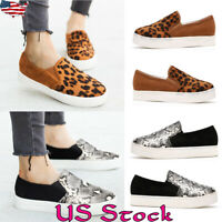 Women Loafers Slip On Leopard Printed Sneaker Ladies Comfy Pumps Flat Shoes US