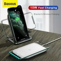 Baseus 15W Qi Wireless Charger Fast Charge Phone Stand Pad For iPhone 11 Samsung
