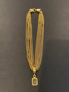 Vintage CAROLEE Multi-Strand Gold Tone Chain Necklace with Pendant