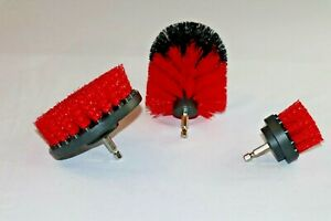 3PCS drill brush HEAVY DUTY(RED) STIFF NEW from US Based seller