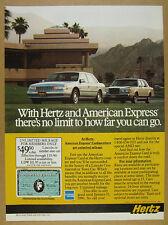 1989 Lincoln Continental & Town Car photo Hertz Car Rental vintage print Ad