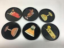 Mid Century Litho Tin Coasters x 6 Retro kitsch