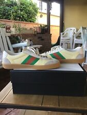 New Men's GUCCI Retro ACE Beige Leather and Taupe Suede shoes sneakers sz 10G