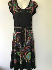 Desigual  Black & Multi Short Sleeve Dress , UK Size L
