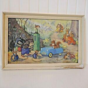 """Vintage Framed Medici Molly Brett Nursery Print """"Woodland Garage"""""""