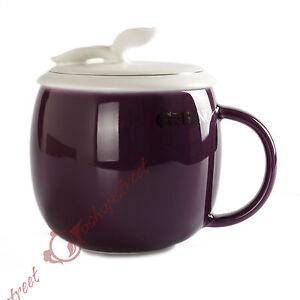 Restorative Purple Ceramic Porcelain Tea Cup Coffee Mug lid Infuser Filter 300ml