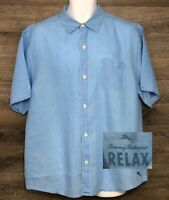 Tommy Bahama Relax Men's 100% Linen Light Blue Short Sleeve Button Front Shirt L