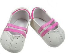 White and Pink Slip on Shoes Fits 18 inch American Girl Dolls