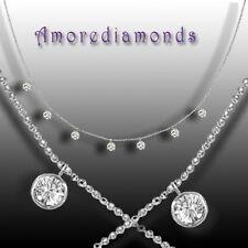 """1.21 ct G VS2 7 round diamonds by the yard eyeglass bezel dangle necklace 16"""""""