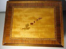 Vintage  Wood Trinket box  marked D. M. R . 1984. Rare Large Inlay Walnut Box