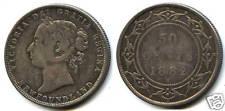 CANADA NEWFOUNDLAND VICTORIA 50 CENTS 1882 H 100,000 Ex