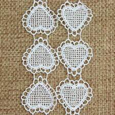 New Heart Shape Off White Polyester Lace Trim Applique Sewing Craft 3 Yards