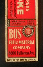1940s Koppers Coke BOS Fuel Coal Chicago IL Cook Co Matchbook Illinois