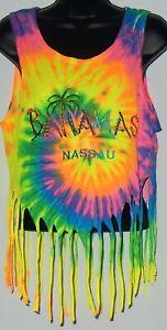 Gildan Women's Bahamas Nassau Beach Croptop Sz S Multicolor Tie-Dyed Embroider #