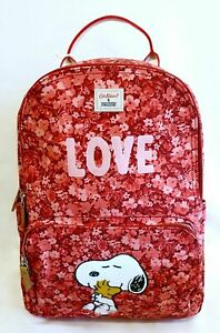 Cath Kidston Snoopy Red Pink Love Backpack Peanuts Pocket Rucksack Double Zip