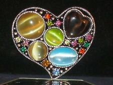 NEW HEART PIN DK SILVERTONE & MULTCOLORED STONES & CRYSTALS SAYS I LOVE YOU b107