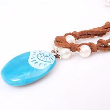 2017 Romance Braided Rope Necklace Moana Blue Stone Pendant Children Jewelry