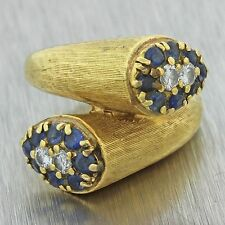 1960s Vintage Estate 18k Solid Yellow Gold .80ctw Sapphire .25ctw Diamond Ring