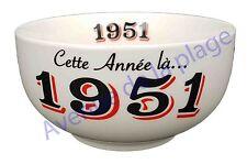 Bol année de naissance 1951 en grès - idée cadeau anniversaire neuf