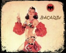 "10"" x 8"" Vintage Bacardi Metal Sign, The Rumbera, Home Bar, Present, RY08"