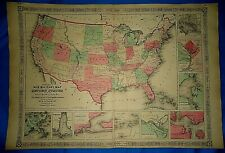 Vintage Civil War Period 1864 Map ~ UNITED STATES MILITARY MAP ~ Old Authentic