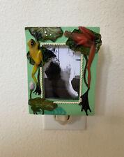 Frog Polyresin Mini Picture Frame Home Decor Nightlight Green