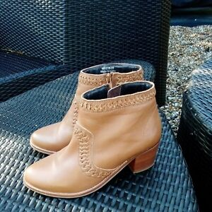 Moonson Tan Leather Ankle Boots Tan UK 6