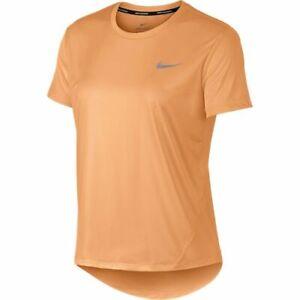 Nike Running Tee Womens New Orange Reflective Miler Run T Shirt Medium or Large
