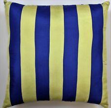 Royal Blue & Yellow Racing Stripe Silk Pillow