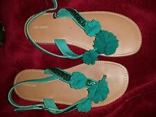 Girls lands end dress flip flops teal green with flowers and sparkles size 2m